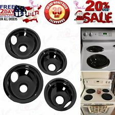 Ge/Hotpoint Porcelain Stove Drip Pans Electric Burner Covers Top Replacement Set