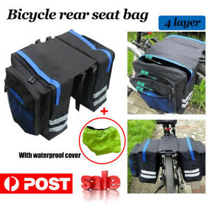 Bike Bicycle Rear Rack Pannier Bags Waterproof Seat Box Saddle Carry Bag Carrier