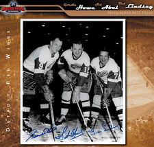 PRODUCTION LINE Signed 11x14 Photo - Gordie Howe, Sid Abel, & Ted Lindsay