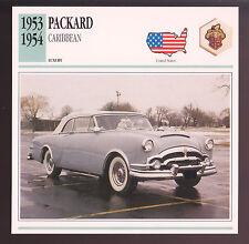 1953-1954 Packard Caribbean Convertible Car Photo Spec Sheet Info Stat CARD