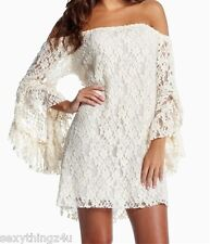 Cream White Long Sleeved Off Shoulder Stretch Lace Dress Bell Sleeves Fits 8 10