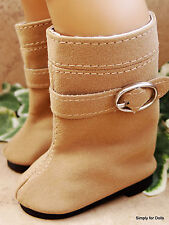 "TAN Suede Buckle DOLL BOOTS SHOES fits 18"" AMERICAN GIRL Doll Clothes"