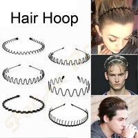 Fashion Metal Black Wave Hoop Headband Sports Hair Band Unisex Men Women Girls