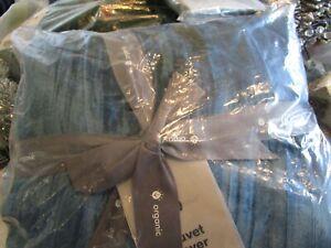 West Elm Crinkle Velvet Duvet Cover full queen regal  blue  New w tag