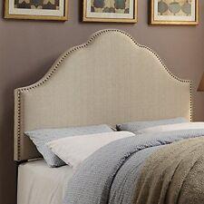 Glam Upholstered Headboard Tuxedo Oatmeal King DS-2530-270-420 White