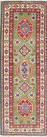 Geometric Super Kazak Oriental Hand-Knotted Wool Runner Rug Green Carpet 2'x6'