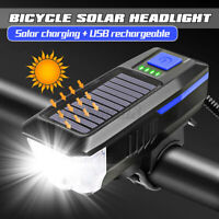 Solar Power Bicycle Front Head Bike LED Light USB Rechargeable Lamp Waterproof