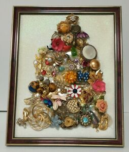 Framed Vintage Jewelry Christmas Tree art pin rhinestones brooch White Sparkle