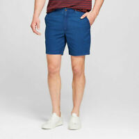 "Goodfellow Linden Flat Front Chino Blue Cotton Shorts 28 Men's 7"" Inseam"