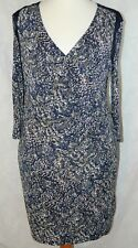 M&S AUTOGRAPH Size 18 Lovely Navy Mix Stretch Ruched Wrap Effect Dress WORN ONCE