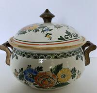 "Clean Vintage Asta Enamel Cookware W, Germany 9"" 2 Qt Stock Pot Floral lid"