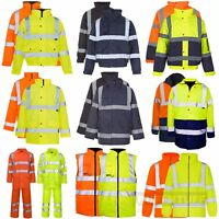 Hi Vis Visibility Bomber Fleece Jacket Parka Coat Body Warmer Rain Suit Security