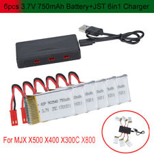 6pcs 3.7V 750mAh Battery+JST 6in1 Port Charger For MJX X400,X300C,X500,X800 RCX1