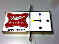 Miller high life beer sign 1957 shark fin wall clock lighted back bar light A+ 1