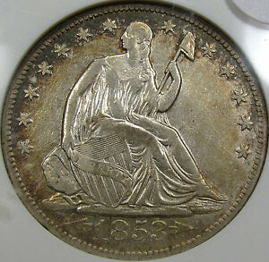 "1853-O ""Arrows and Rays"" Seated Liberty Half Dollar ANACS AU Details...NICE COIN"