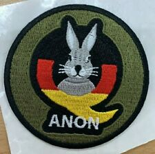 "Q Anon 3"" Patch Follow the white Rabbit German Flag Qanon hard hook Tactical"