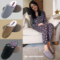 DUNLOP - Ladies Warm Slip On Fluffy Fur Cosy House Mule Suede Slippers