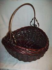 Large Wood Brownish Basket with Metal Gold and Black Handle