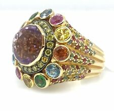 Grande Amatista multi-gem ANILLO EN 18ct Oro Amarillo - hm737