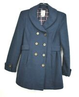 Tulle Womens Navy Blue Button Front Coat Shawl Neck Straight Hem Size Medium