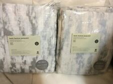 West Elm Two (2) Bark Texture Jacquard Curtains 48x84 Platinum Gray Blackout NEW