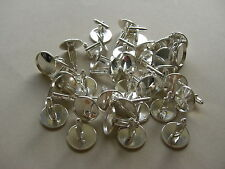 40 SLIGHTLY IMPERFECT SILVER PLATED ROUND CABOCHON SETTING CUFF LINKS Fit 14mm