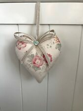 Peony and Sage Padded  Heart Door Hanger Roses and Sweet Peas
