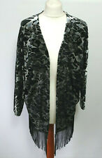 Roman Kimono Fringed Jacket Black Grey Evening Xmas Party Devore Gatsby NWT 12