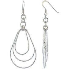 Sterling Silver Diamond Cut Tubing Dangling Teardrops Earrings