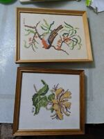 2x Vintage/Antique Glazed framed MD Embroidered Embroidery Picture f81