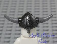 NEW Lego Castle Minifig BLACK VIKING HELMET Hat w/Silver Gray Spike Weapon Horns