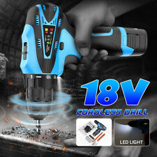Portable 18V Cordless Electric Driver Drill Brushless Li-ion Impact Tool Kit
