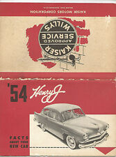 libretto istruzioni KAISER HENRY J '54 FACTS ABOUT YOUR NEW CAR originale