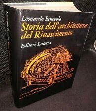 Leonardo Benevolo STORIA DELL'ARCHITETTURA DEL RINASCIMENTO Laterza 1973