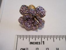 NEVER WORN Joan Rivers Pretty Petals Crystal Flower Cocktail Ring Purple Size 6