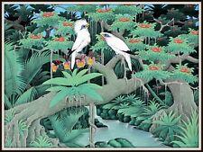"""Original Balinese Painting  """"Starlings""""  WONDERFUL!  (31.25"""" Wide x 31.5"""" High)"""