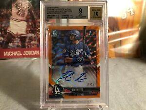 2018 Bowman Chrome Edwin Rios /25 Orange 1st Auto Refractor BGS 9 Dodgers