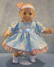 15 Inch Doll Clothes Easter Eggs Bunnies on Blue Dress Handmade by Jane Ellen