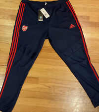 Men's Adidas Tapered Fit Track Pants- Arsenal- Size XL- Tie/Zip- Navy & Red