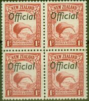 New Zealand 1936 1d Scarlet SG0115 V.F MNH Block of 4