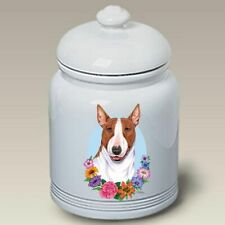 Brown and White Bull Terrier Ceramic Treat Jar Tp 47415