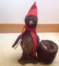 Natural Mimbre Pingüino Navidad Decoración/Plantador (Red Hat Bufanda)
