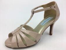 Dyeables, Women's Martina Dress Heel Sandal, Nude Patent, Wide Size 6.5 D
