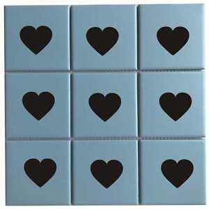 12 x Heart Tile Stickers Tiles Decals For Bathroom Kitchen Wall Vinyl Waterproof