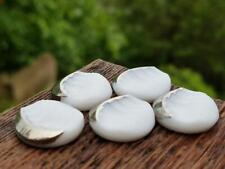 Wavy Grooved White Glass Cresent Silver Vintage Cabochons Cabs West German NOS