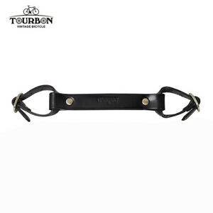 TOURBON Leather Bike Pack Accessories Vintage Bicycle Frame Handle Lifter Black