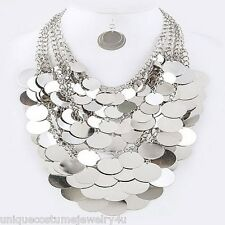 Massive Coins Silver Multi Layered Chunky Elegant Statement Necklace Set