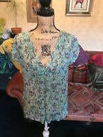 MASAI  Clothing Ladies Green Chiffon Floral Cap Sleeve Tunic Blouse Top M 12/14