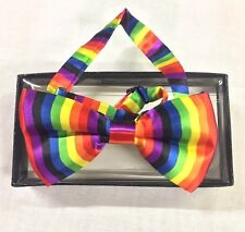 Rainbow Bow Tie Colorful Dickie Dicky Dance Party Fancy Gift Box Set