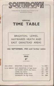 SOUTHDOWN BUS TIMETABLE BOOK BRIGHTON SEP 1958